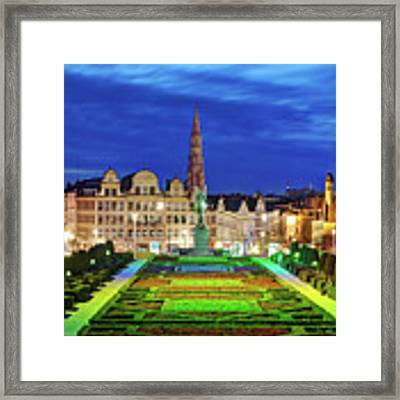 View Of Brussels From Jardin Du Mont Des Arts Framed Print by Barry O Carroll