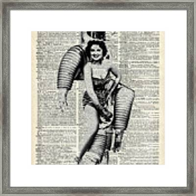 Vintage Girl In Robot Costume Framed Print