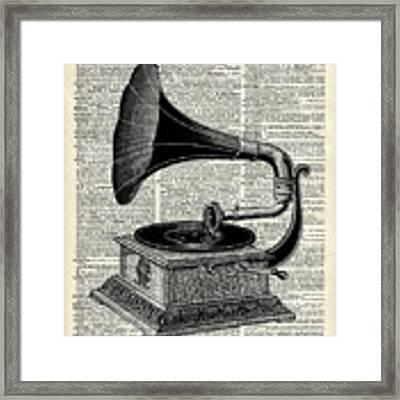 Vintage Gramophone Framed Print by Anna W