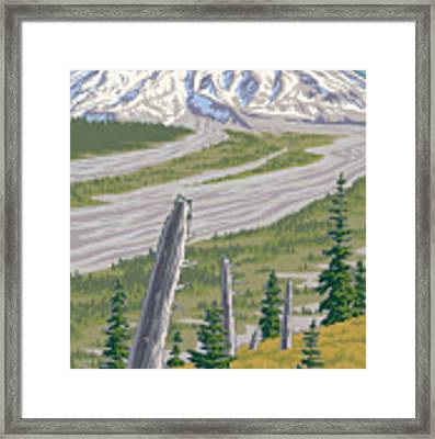 Vintage Mount St. Helens Travel Poster Framed Print by Mitch Frey