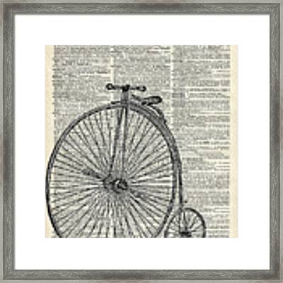 98879ea52d2 ... Vintage Penny Farthing Bicycle Framed Print by Anna W