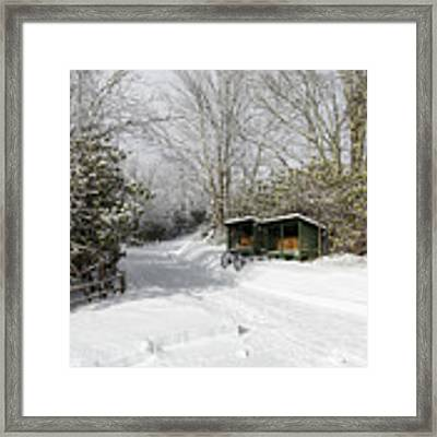 Wagon Wheels And Firewood Framed Print by D K Wall