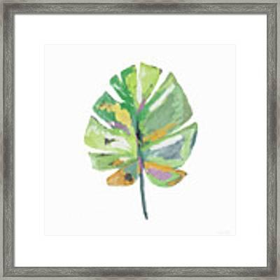 Watercolor Palm Leaf- Art By Linda Woods Framed Print by Linda Woods