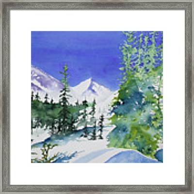 Watercolor - Sunny Winter Day In The Mountains Framed Print by Cascade Colors