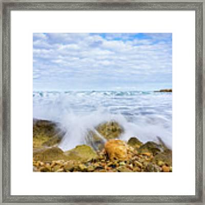 Wave Splash Framed Print by Gary Gillette