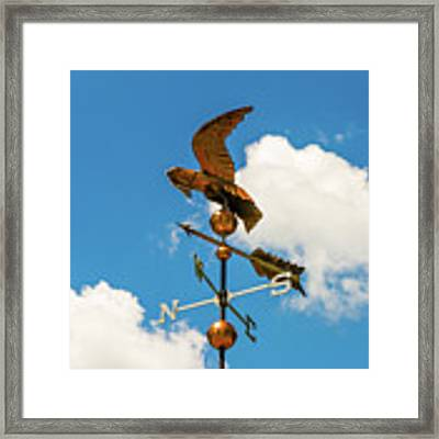 Weather Vane On Blue Sky Framed Print by D K Wall