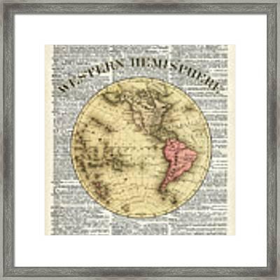 Western Hemisphere Earth Map  Framed Print by Anna W
