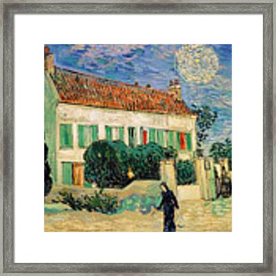 White House At Night Framed Print by Vincent Van Gogh