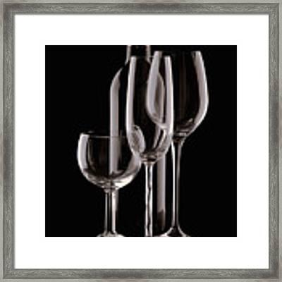 Wine Bottle And Wineglasses Silhouette Framed Print by Tom Mc Nemar