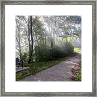 Winona Minnesota Foggy Path With Bench Photograph Framed Print by Kari Yearous