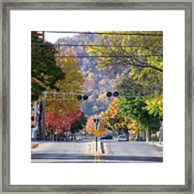 Winona Mn Photo Railroad Crossing In Fall Framed Print by Kari Yearous