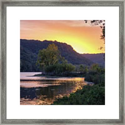 Winona Mn Sunset Peninsula Yearous Framed Print by Kari Yearous