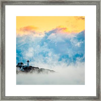 Winter Sunrise At Nubble Light Framed Print by Susan Cole Kelly