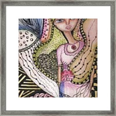 Woman With Large Eyes Framed Print by Prerna Poojara