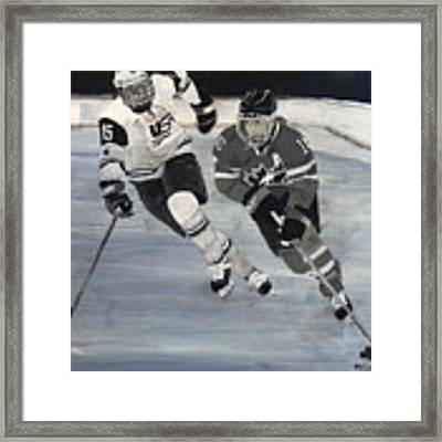 Women's Hockey Framed Print by Richard Le Page