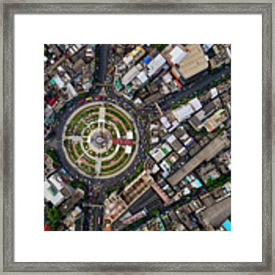 Wongwian Yai Roundabout Surrounded By Buildings, Bangkok Framed Print by Pradeep Raja PRINTS