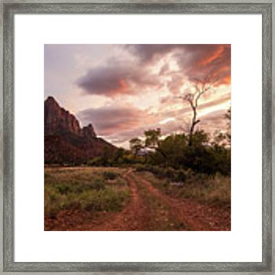 Zion Sunset Framed Print by Wesley Aston