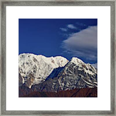 Annapurna South Peak And Pass In The Himalaya Mountains, Annapurna Region, Nepal Framed Print by Raimond Klavins