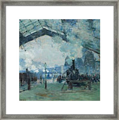 Arrival Of The Normandy Train, Gare Saint-lazare Framed Print by Claude Monet