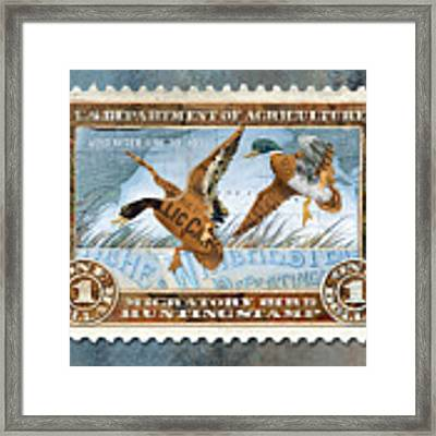 1934 Hunting Stamp Collage Framed Print by Clint Hansen