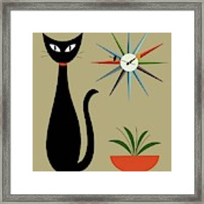 Tabletop Cat With Starburst Clock Framed Print by Donna Mibus