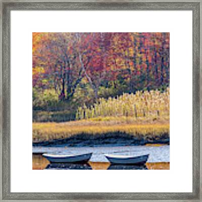 Two Boats In Autumn Framed Print by Susan Cole Kelly