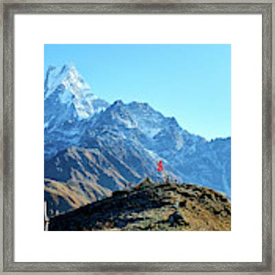 Machapuchare Mountain Fishtail In Himalayas Range Nepal Framed Print by Raimond Klavins