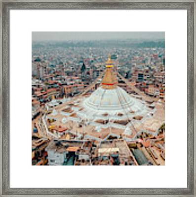 Stupa Temple Bodhnath Kathmandu, Nepal From Air October 12 2018 Framed Print by Raimond Klavins