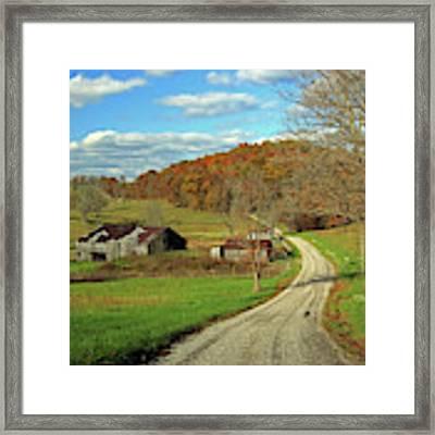 A Farm On An Autumn Day Framed Print by Angela Murdock