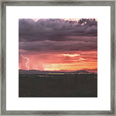 Arizona Sunset Lightning  Framed Print by Chance Kafka