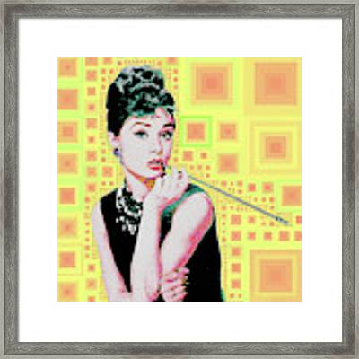 Audrey Hepburn Breakfast At Tiffanys In Mca Mid Century Abstract Squares 20190219 P41 Framed Print by Wingsdomain Art and Photography