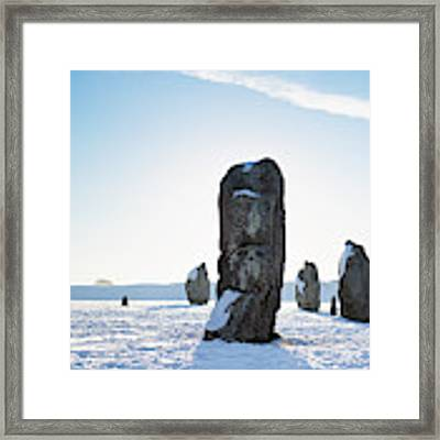 Avebury Stone Circle In The Winter Snow Panoramic Framed Print by Tim Gainey