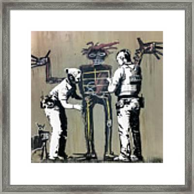 Banksy Coppers Pat Down Framed Print by Gigi Ebert
