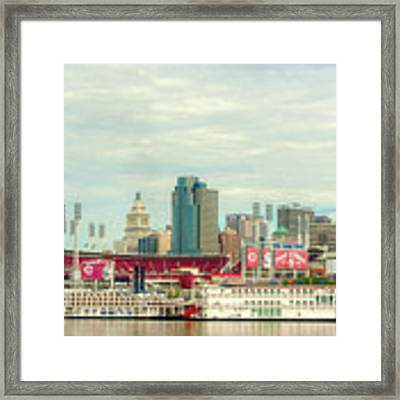 Baseball And Boats In Cincinnati # 2 Framed Print by Mel Steinhauer