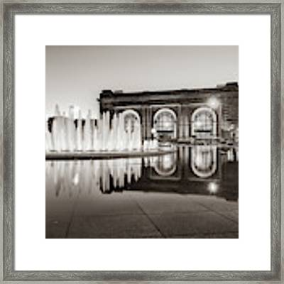 Bloch Fountain At Union Station - Downtown Kansas City Sepia Framed Print by Gregory Ballos