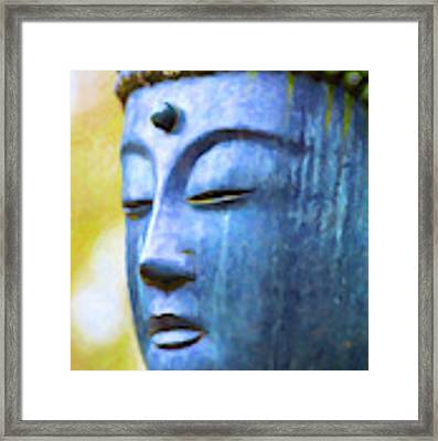 Blue Tone Buddha Framed Print by Tim Gainey