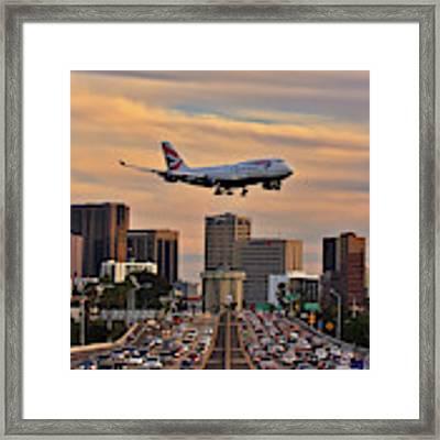 Boeing 747 Landing In San Diego Framed Print by Sam Antonio Photography