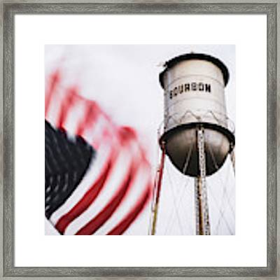 Bourbon Water Tower Usa Vintage - 1x1 Framed Print by Gregory Ballos
