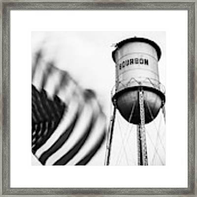 Bourbon Water Tower Usa Vintage - 1x1 Monochrome Framed Print by Gregory Ballos