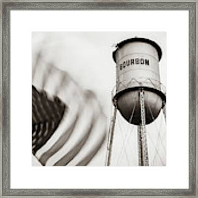 Bourbon Water Tower Usa Vintage - 1x1 Sepia Framed Print by Gregory Ballos