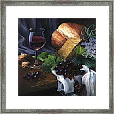 Bread And Wine Framed Print by Clint Hansen