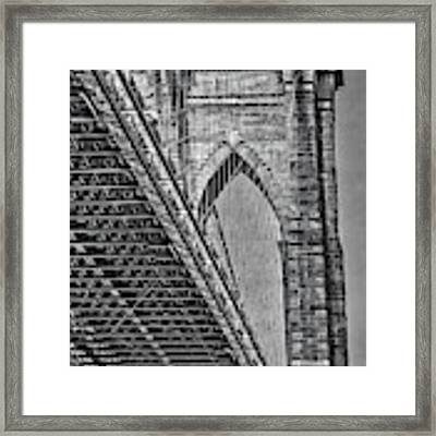 Brooklyn Bridge Over And Under Bw Framed Print by Susan Candelario