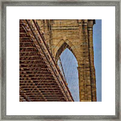 Brooklyn Bridge Over And Under Framed Print by Susan Candelario