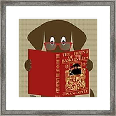 Brown Dog Reading Framed Print by Donna Mibus