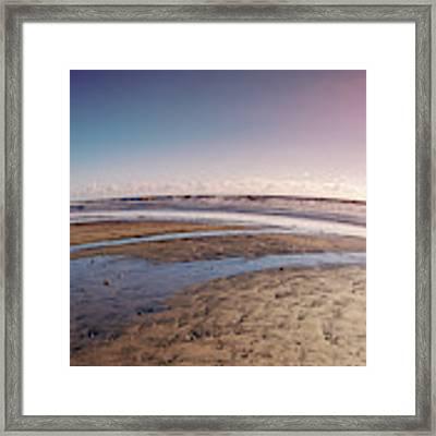Carlsbad Low Tide Red Blue Sky Framed Print by Alison Frank