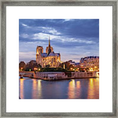 Cathedral Notre Dame And River Seine Framed Print by Brian Jannsen