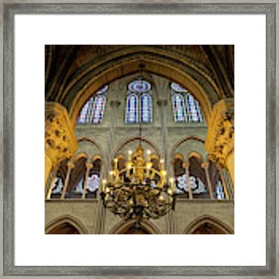Cathedral Notre Dame Chandelier Framed Print by Brian Jannsen