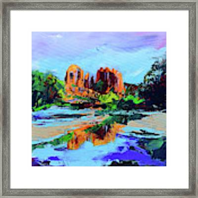 Cathedral Rock - Sedona - Square Version Framed Print by Elise Palmigiani
