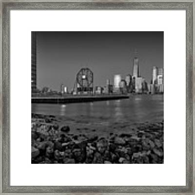 Colgate Clock And Nyc Skyline Bw Framed Print by Susan Candelario