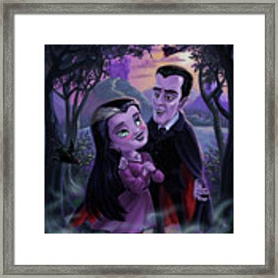 Count And Countess Dracula During Halloween Evening Framed Print by Martin Davey